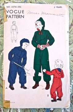 Vogue 2274  Vintage 1940s Childs Snowsuit Pattern by Fragolina