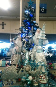Icy Blue Christmas store display
