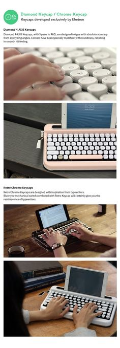 2Types of keycaps developed exclusively , Cherry switch,  Multi-pairing, Macro, All O/S support | Check out 'Penna - Typewriter style Retro Bluetooth Keyboard' on Indiegogo.