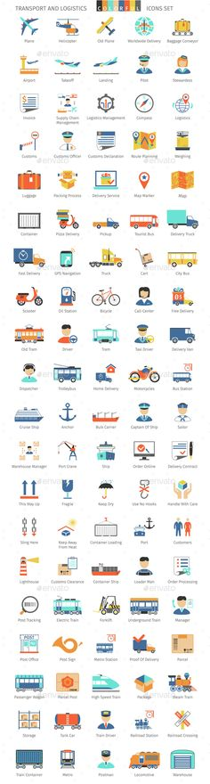 100 Transport And Logistics Colorful Icons #design Download: http://graphicriver.net/item/transport-and-logistics-colorful-icons/14536652?ref=ksioks