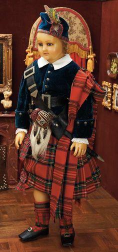 English Wax Child Doll in Elaborate Scottish Costume,with Original S. Old Dolls, Antique Dolls, Vintage Dolls, Scottish Plaid, Scottish Tartans, Child Doll, Baby Dolls, Scottish Costume, Scottish Clothing
