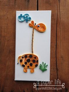 quilled paper giraffe on canvas - 'STRETCH'