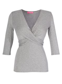 Wrap tie top in grey melange | DD Atelier: http://dd-atelier.com/Wrap-tie-top-in-grey-blouse-for-large-bust.html #wrap #top