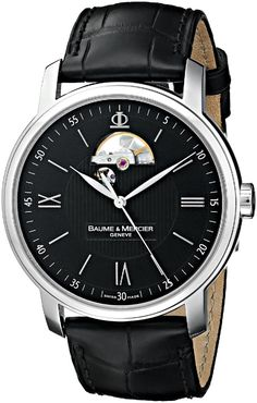 Men watches : Baume & Mercier Men's MOA08689 Stainless Steel Automatic Watch with Faux-Leather Band