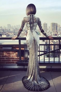 Jourdan Dunn looks out over NYC in Balmain before the 2016 Met Gala