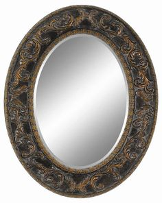 Imagination Mirrors Transitional Oval Framed Mirror in Dark Gold 93352-O-DG