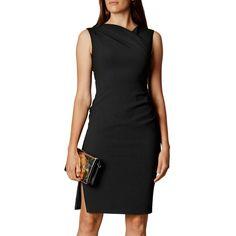 Karen Millen Fabric Detail Dress (€135) ❤ liked on Polyvore featuring dresses, evening maxi dresses, maxi cocktail dresses, long-sleeve midi dresses, print maxi dress and knee length cocktail dresses