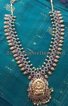Silver Mango Necklace with Lakshmi