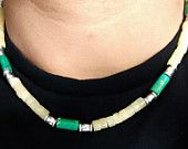Green Jadeite and Calcite Gems Men Necklace - New Custom Handmade Gemstone Necklace - Tribal Necklace - surfer necklace