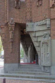 Bauhaus, Art Nouveau, Amsterdam School, Brick Detail, Art Periods, Kingdom Of The Netherlands, Train Posters, Clock Art, Art Deco Period