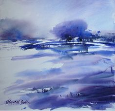 Watercolor by french artist Chantal Jodin : soooo beautiful ! Winter Watercolor, Purple Art, Colorful Art, Monochromatic Art, Watercolor, Watercolor Landscape, Nature Inspiration, Value Painting, Blue Abstract Painting
