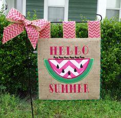 Custom Burlap Garden Flag - Hello Summer - Embroidery Applique - Single sided by sewgoddesscreations on Etsy https://www.etsy.com/listing/187678928/custom-burlap-garden-flag-hello-summer