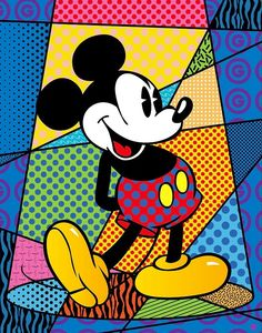 Mickey spotlight by Romero Britto Pop Art Art Disney, Disney Kunst, Mickey Mouse And Friends, Mickey Minnie Mouse, Arte Pop, Art Watercolor, Painting Abstract, Tableau Design, Modern Pop Art
