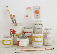 jars for craft materials #knitting #lovely #diy