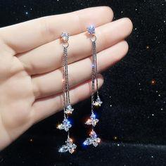Long Tassel Earrings, Rhinestone Earrings, Crystal Earrings, Women's Earrings, Stylish Jewelry, Cute Jewelry, Jewelry Accessories, Women Jewelry, Fairy Jewelry