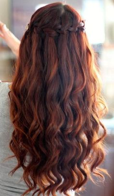Waterfall Braid with Spiral Curls
