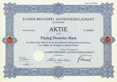 HWPH AG - Historische Wertpapiere - Kaiser-Brauerei AG Hannover, August 1971, Aktie über 50 DM