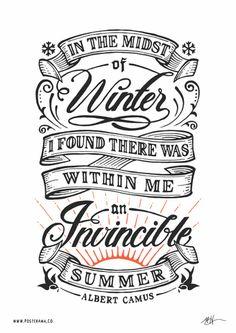 Inspirational quotes: Albert Camus Invincible Summer poster 2 – www.posterama.co