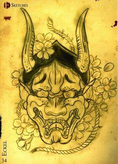 Times of Grace Japanese Tattoos For Men, Japanese Tattoo Art, Traditional Japanese Tattoos, Japanese Sleeve Tattoos, Yakuza Tattoo, Hannya Mask Tattoo, Bodysuit Tattoos, Mascara Hannya, Japanese Hannya Mask
