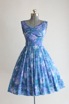 Vintage 1950s Blue and Purple Floral Acetate/Chiffon Party Dress W/ Full Skirt/ by TuesdayRoseVintage