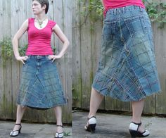 recycled blue jeans skirt - 80s geometric