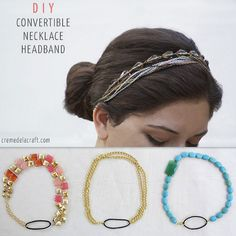 DIY convertible necklace headband tutorial. And great site!