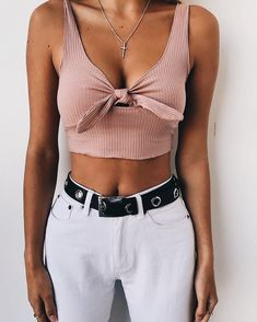 Bow-tie Solid Color Crop Top – Lupsona - All About Crop Top Outfits, Trendy Outfits, Summer Outfits, Fashion Outfits, Womens Fashion, Fashion Tips, Fashion Trends, Fashion Clothes, Fashion Inspiration