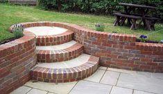 lovely, rounded garden steps - All For Garden Backyard Garden Design, Terrace Garden, Patio Design, Backyard Patio, Backyard Landscaping, Backyard Ideas, Landscaping Retaining Walls, Landscaping Ideas, Brick Wall Gardens