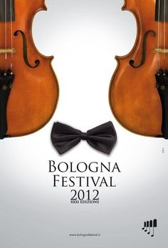 The violins in the poster are positioned in a certain so in the negative space, there is a person wearing a bow tie. The two images are in perfect harmony, making one picture.