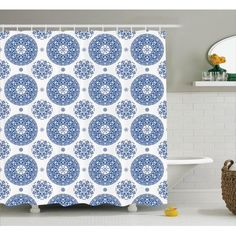 Winston Porter Hayes French Country Style Floral Circular Pattern Lace Snowflake Design Print Single Shower Curtain Size: W x French Country Style, French Country Decorating, Shower Curtain Sizes, Gypsy Decor, Circular Pattern, Snowflake Designs, Rustic Decor, Print Design, Curtains