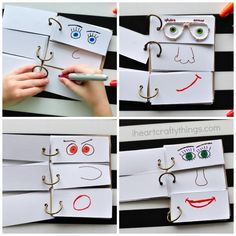 This DIY Funny Face Flip Book will keep the kids creatively entertained all afternoon. Great summer boredom buster kids activity and summer kids craft. Kids Crafts, Summer Crafts For Kids, Summer Activities For Kids, Summer Kids, Diy For Kids, Craft Kids, Summer Fresh, Babysitting Activities, Toddler Activities