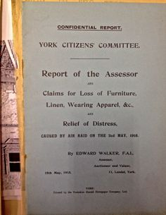 After the 1916 zeppelin raid many people claimed for damages. The above is a report, written by the assessor investigating the claims of local people, containing the guidelines for compensation. Air Raid, Local History, Zeppelin, Libraries, First World, The Neighbourhood, Encouragement, Collections, War