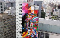 Image: Brazilian graffiti artist Eduardo Kobra puts the final touches on his piece of art in tribute to Brazilian architect Oscar Niemeyer, one of the 20th century's most influential modernist architects, at the financial center on Sao Paulo, Brazil's Avenida Paulista, Jan. 22, 2013. (© Nacho Doce/AP)