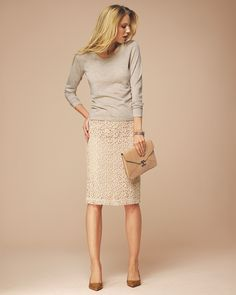 Luxury Lace Pencil Skirt | Finest Cashmere Clothing | Pure Collection