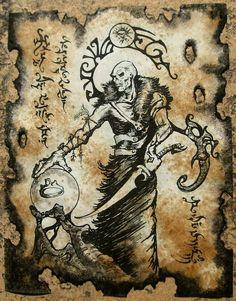 Items similar to SKULL SORCERER Cthulhu larp Necronomicon page Scroll Magick occult sorcery on Etsy Necronomicon Lovecraft, Lovecraft Cthulhu, Hp Lovecraft, Larp, Ange Demon, Demon Art, Arte Horror, Horror Art, Lovecraftian Horror
