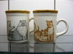 SOLD -- $25 Two Biltons English pottery CAT MUGS ceramic coffee cups