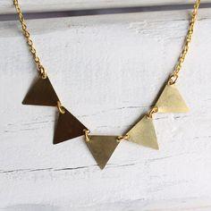 Bunting Necklace... Vintage Brass Gold by SilkPurseSowsEar