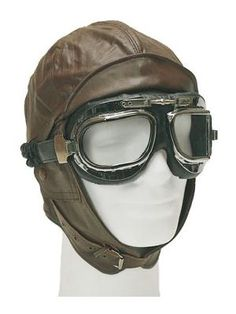 Race Car Dare-Devil Aviator 40s Wartime Steampunk Mens Costume Cap Goggle Kit