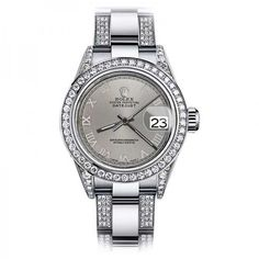 Pre-owned Rolex Oyster Perpetual Datejust Stainless Steel and Diamonds... ($6,999) ❤ liked on Polyvore featuring jewelry, watches, stainless steel jewelry, diamond bezel watches, pre owned watches, rolex wrist watch and preowned watches