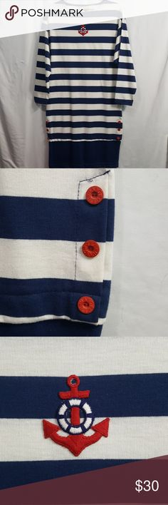 def7bc146c2b Hang Ten vintage Nautical striped dress anchor Awesome condition vintage  Hang Ten nautical striped dress.