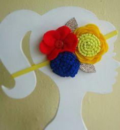 Cintillo para niña en flores de fieltro diademas tocados