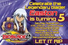 Beyblade Birthday Invitation  Earth Eagle by RadicalProductions, $8.00