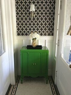 powder room-black and white with kelly green accents