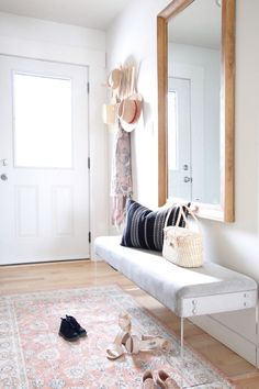LTI Boho Chic Project: bright entryway entry long narrow entry white front do Fo. LTI Boho Chic Project: bright entryway entry long narrow entry white front do Foyer and Entryway Id Small Entryways, Small Hallways, Design Entrée, Design Ideas, Interior Design And Build, Foyer Furniture, Furniture Design, Apartment Entryway, Apartment Ideas