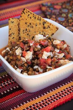 Chunky Lentil Dip - Courtesy of Trader Joe's - 1package Trader Joe's cooked lentils, 1 container Trader Joe's bruschetta sauce, 3/4 c. crumbled goat or feta cheese. Easy & GOOD!