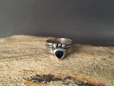 Boho Ring  Silver Sapphire Band Ring  by AriesArtisticJewelry