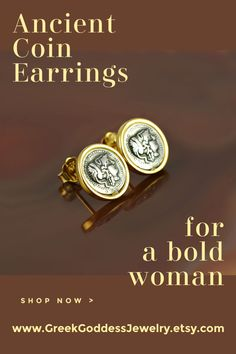 Ancient Coin Earrings representing the fearless Athena - the Greek goddess of wisdom, courage and justice. Unique, antique jewelry for a bold woman. #antiquejewelry #coinjewelry #athena #athenacoin #ancientjewelry #greekjewelry #bohemianjewelry