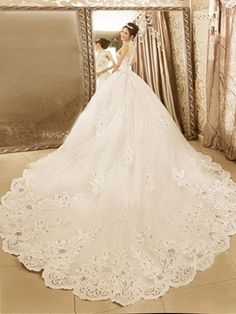 I love this cute Noble High Neck Ball Gown Appliques Beadings Chapel Train Wedding Dress!