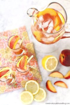 Pomegranate peach lemonade—so pretty and refreshing!