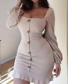 Single-Breasted Puff Sleeve Flutter Hem Dress Women's Best Online Shopping - Offering Huge Discounts on Dresses, Lingerie , Jumpsuits , Swimwear, Tops and More. Sexy Dresses, Cute Dresses, Fashion Dresses, Tight Dresses, Trend Fashion, Look Fashion, Feminine Fashion, Mode Outfits, Dress Outfits